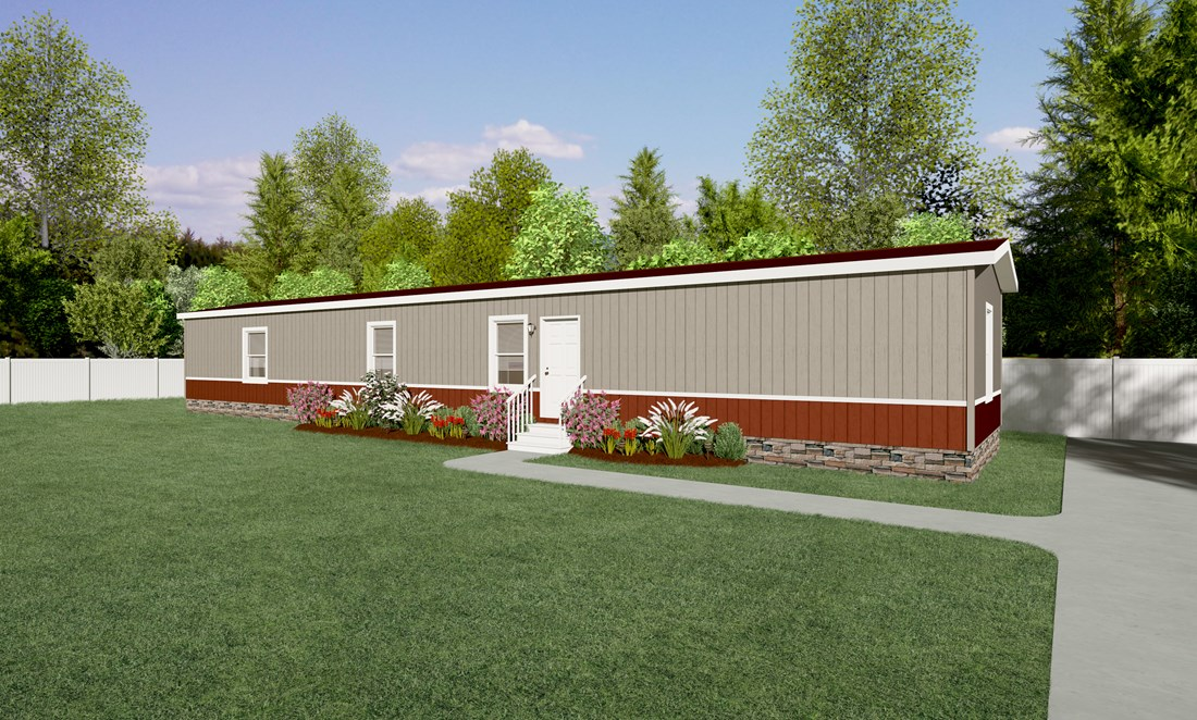 The KS1676A Exterior. This Manufactured Mobile Home features 3 bedrooms and 2 baths.