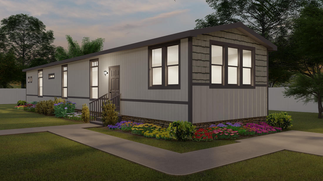 The ENCHANTMENT Exterior. This Manufactured Mobile Home features 2 bedrooms and 2 baths.