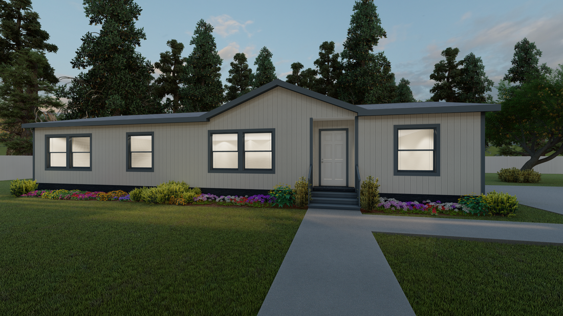 The K3060A Exterior. This Manufactured Mobile Home features 3 bedrooms and 2 baths.
