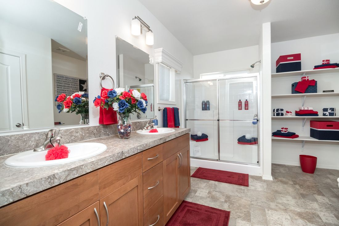 The K2760A Master Bathroom. This Manufactured Mobile Home features 3 bedrooms and 2 baths.