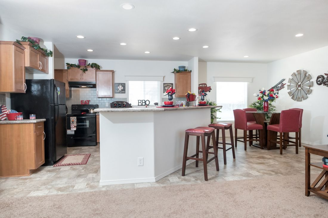 The K2760A Kitchen. This Manufactured Mobile Home features 3 bedrooms and 2 baths.