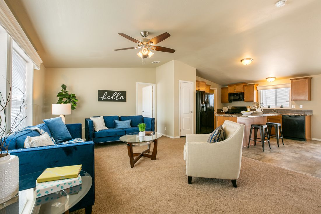 The THE WAVE Family Room. This Manufactured Mobile Home features 4 bedrooms and 2 baths.