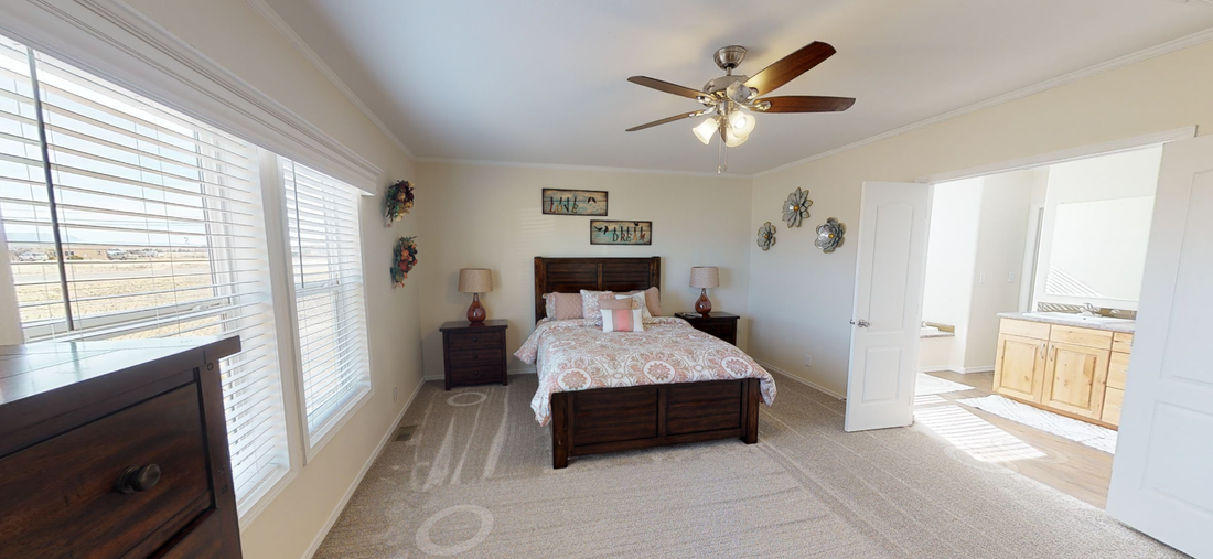 The K3066A Master Bedroom. This Manufactured Mobile Home features 3 bedrooms and 2 baths.