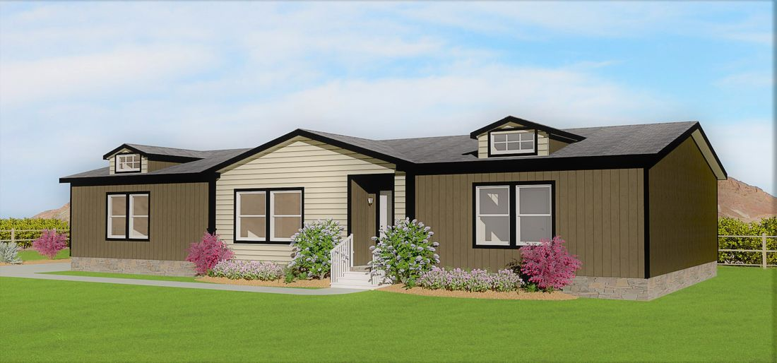 The K3066A Exterior. This Manufactured Mobile Home features 3 bedrooms and 2 baths.
