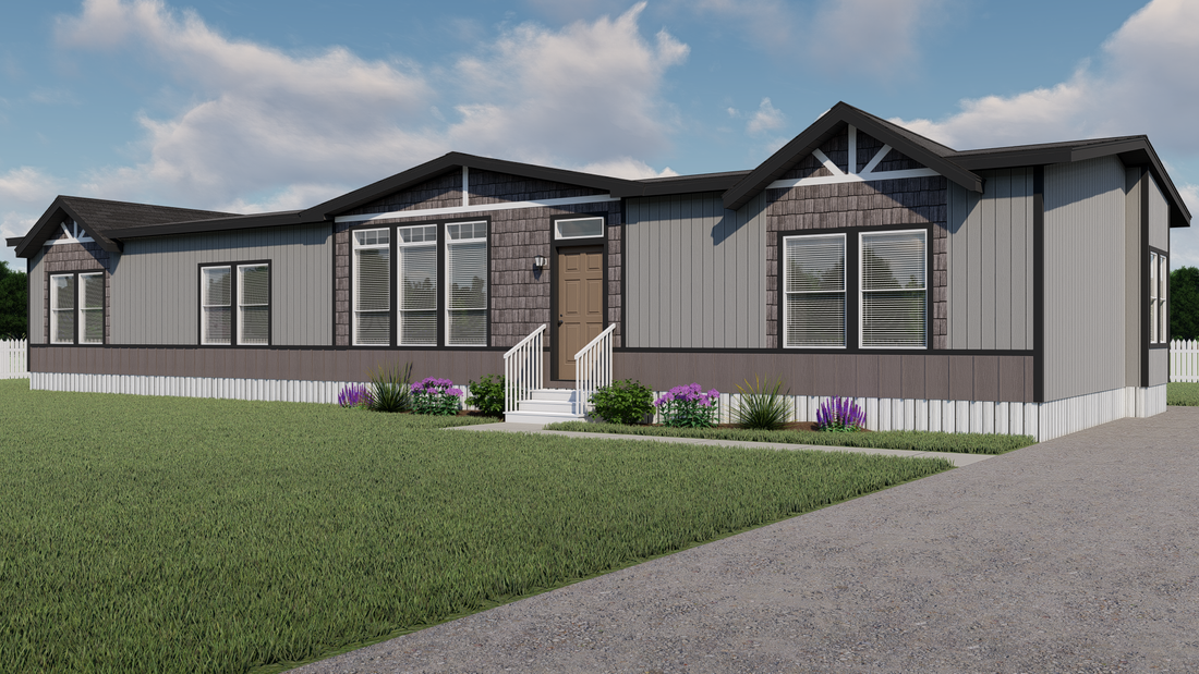 The EDGEWOOD Exterior. This Manufactured Mobile Home features 3 bedrooms and 2 baths.