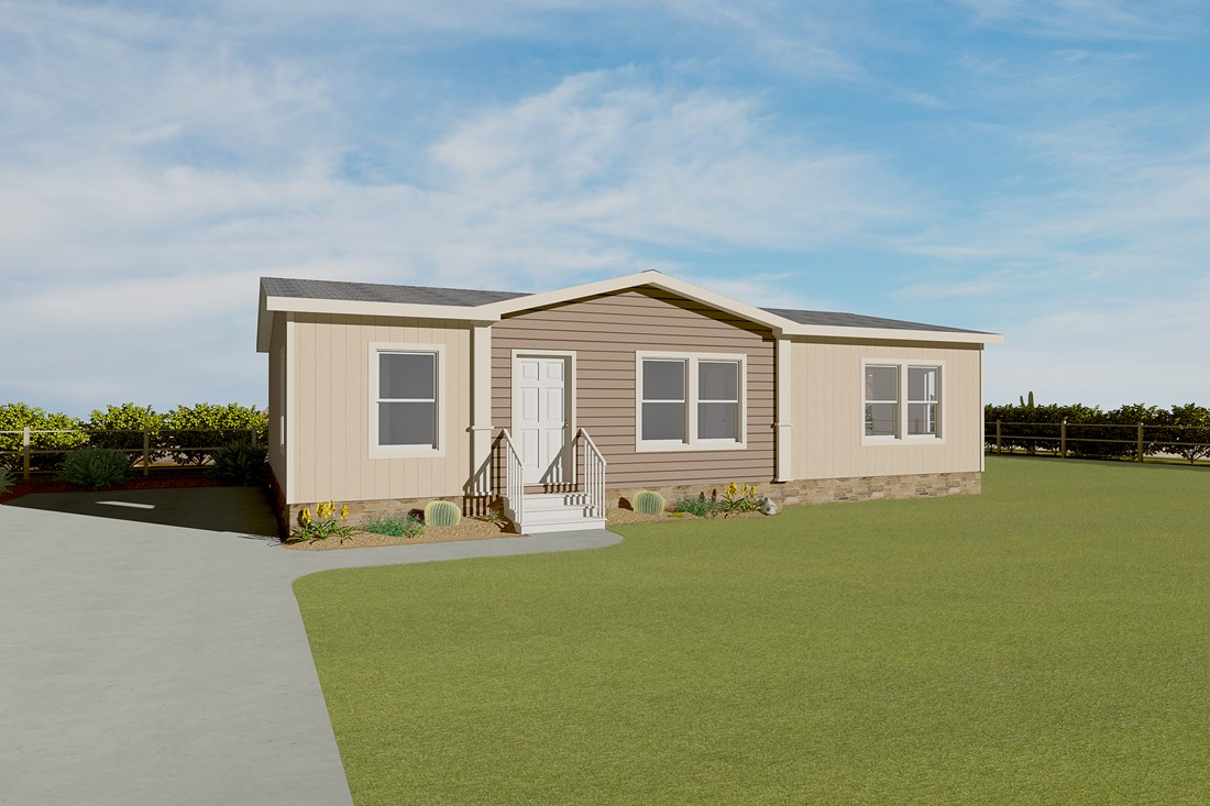 The K2744A Exterior. This Manufactured Mobile Home features 3 bedrooms and 2 baths.
